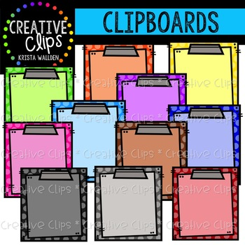 Rainbow Clipboards {Creative Clips Clipart}