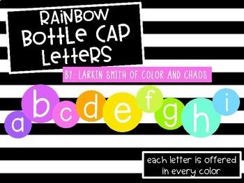 Rainbow Bottle Cap Alphabet Letters - 1 Inch