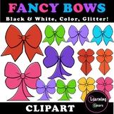 Rainbow Bows Clipart - Black & White, Color, Glitter!