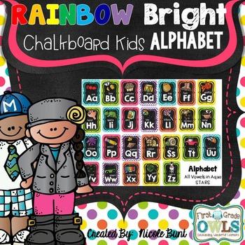 Rainbow Bright Chalkboard Kids ALPHABET