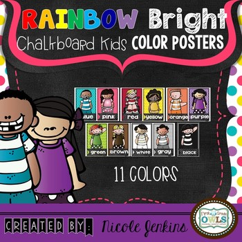 Rainbow Bright Chalkboard Kids Color Posters
