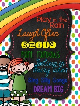Rainbow Bright Chalkboard Kids Inspirational Sayings