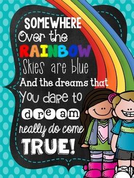 Rainbow Bright Chalkboard Kids Inspirational Sayings