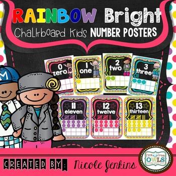 Rainbow Bright Chalkboard Kids Number Posters 0-20