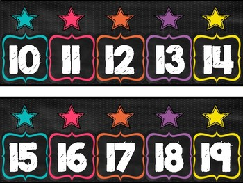Rainbow Bright Chalkboard Number Line 0-120