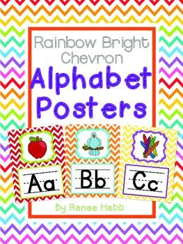 Rainbow Bright Chevron Alphabet Posters