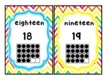 Rainbow Bright Chevron Number Posters and Cards: 0-20, Even and Odd Colors