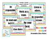 Rainbow Bright Classroom Rules Printable Signs