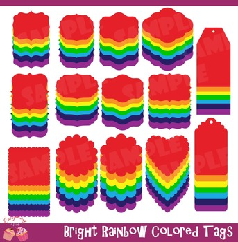 Rainbow Bright Colored Tags Clipart Set