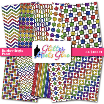 Rainbow Bright Paper {Scrapbook Backgrounds for Task Cards & Brag Tags}
