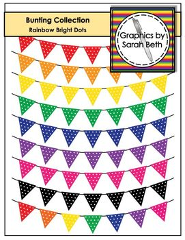 Rainbow Bright Dots - Bunting Clipart Collection - Rainbow