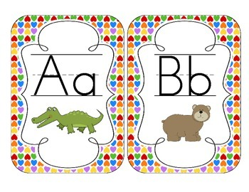 Rainbow Bright Hearts Alphabet Cards