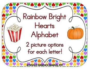 Rainbow Bright Hearts Alphabet Cards