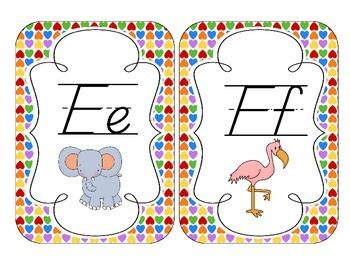 Rainbow Bright Hearts Alphabet Cards: D'Nealian Version