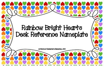 Rainbow Bright Hearts Desk Reference Nameplates