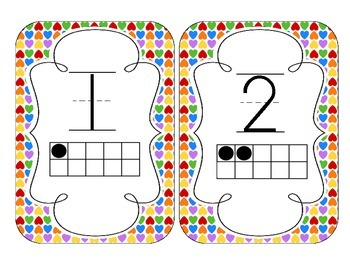 Rainbow Bright Hearts Number Cards 1-20