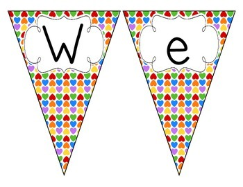 Rainbow Bright Hearts Welcome Pennant