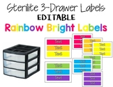 Rainbow Bright (Neon) Text Editable Sterilite 3-Drawer Labels