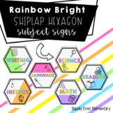 EDITABLE Rainbow Bright Shiplap Hexagon Subject Signs | Class Decor