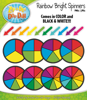 Rainbow Bright Spinners Clipart {Zip-A-Dee-Doo-Dah Designs}