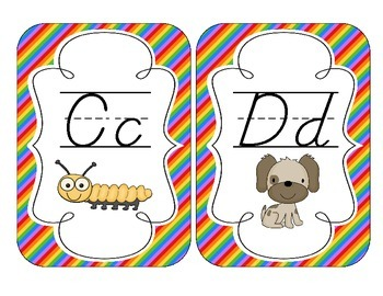 Rainbow Bright Stripes Alphabet Cards: D'Nealian Version