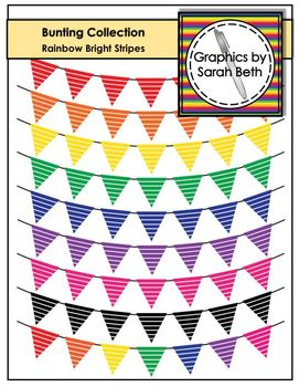 Rainbow Bright Stripes - Bunting Clipart Collection - Rain