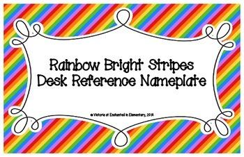 Rainbow Bright Stripes Desk Reference Nameplates