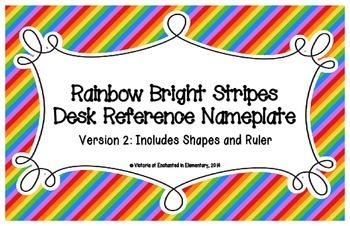 Rainbow Bright Stripes Desk Reference Nameplates Version 2