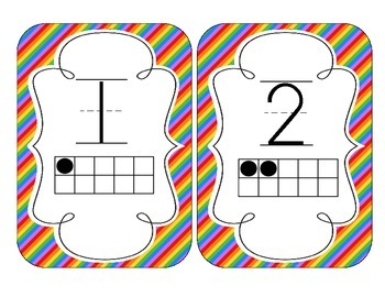 Rainbow Bright Stripes Number Cards 1-20