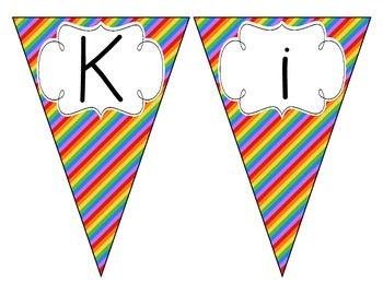 Rainbow Bright Stripes Welcome Pennant