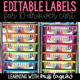 Rainbow Bright Tassel Editable Labels for 10 Drawer Cart