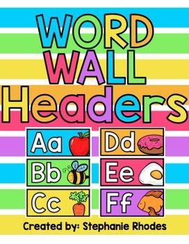Rainbow Bright Word Wall Headers