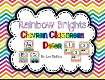 Rainbow Brights Chevron Classroom Decor