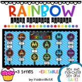 Rainbow Class Birthday Bulletin Board Poster Set *EDITABLE