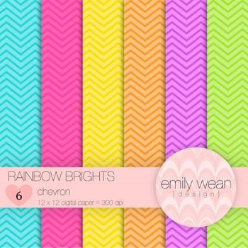 Rainbow Brights - Digital Paper - Chevron Background