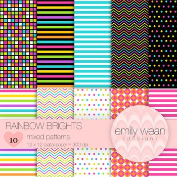 Rainbow Brights - Digital Paper - Mixed Pattern Backgrounds