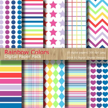 Rainbow Brights Digital Paper pack 12x12 jpeg