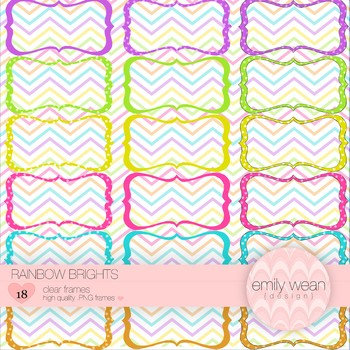 Rainbow Brights - Hand Drawn Digital Frames