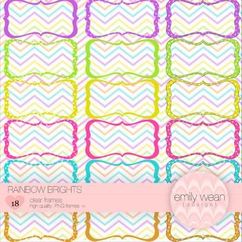 Rainbow Brights - Hand Drawn Digital Frames