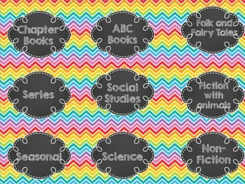 Rainbow Brights Library Book Bin Labels