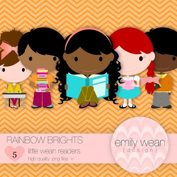 Rainbow Brights - Little Readers Clip Art