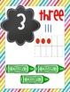 Rainbow Brights Number Cards with tallies, pictures, ten frames and graphics