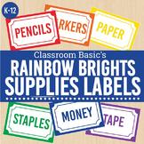 Rainbow Brights Printable Supplies Labels (Editable!) - 6 Colors!
