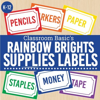 Rainbow Brights Printable Supplies Labels (Editable!) - 6 Colors!