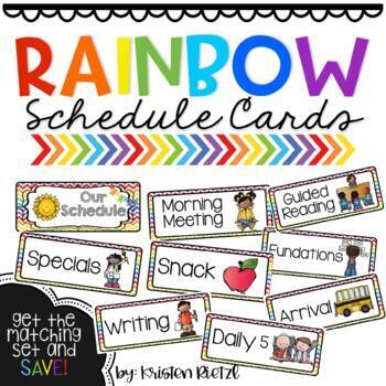 EDITABLE Rainbow Schedule Cards