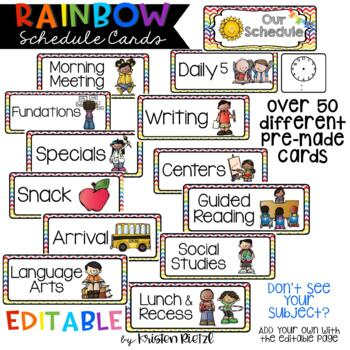 EDITABLE Rainbow Schedule Cards