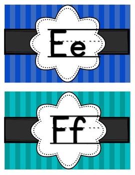 Rainbow Brights Stripes Alphabet/Word Wall