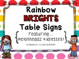 Rainbow Brights Table Signs