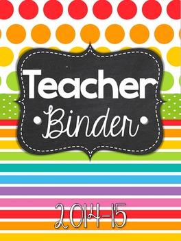 Teacher Binder Cover/Inserts Editable: Rainbow Brights