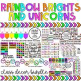 Rainbow Brights & Unicorns EDITABLE Classroom Decor Bundle